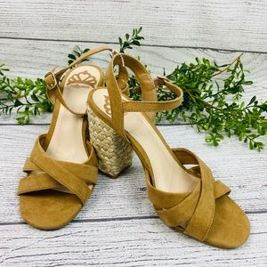 NEW Fergalicious Strappy Camel and Straw Heels 5.5